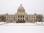 Outside Minnesota's State Capitol Building in the winter