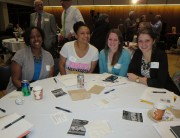 Four Title IV-E M.S.W. students at the spring child welfare conference