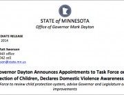 Screenshot of Governor Dayton's press release appointing members to C.P.S. task force
