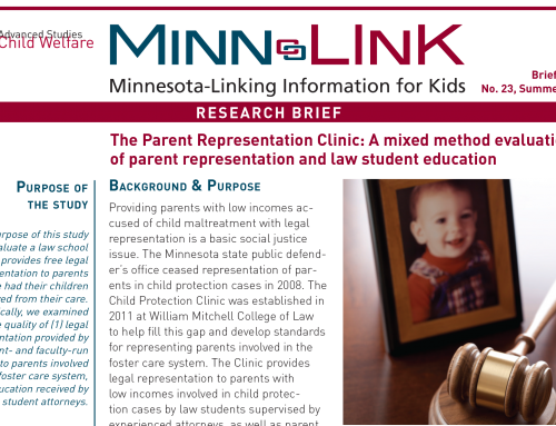 The Parent Representation Clinic: A mixed method evaluation of parent representation and law student education (ML #23)