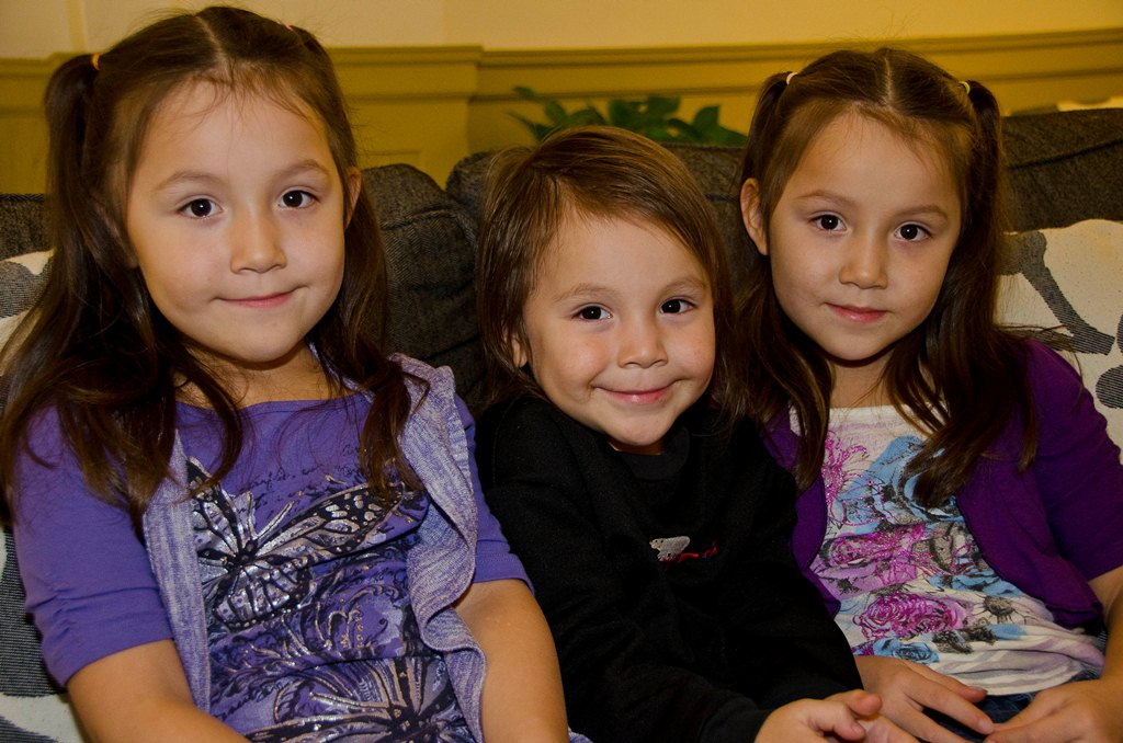Three young American Indian girls; photo source: University of Minnesota Duluth, Center for Regional and Tribal Child Welfare Studies