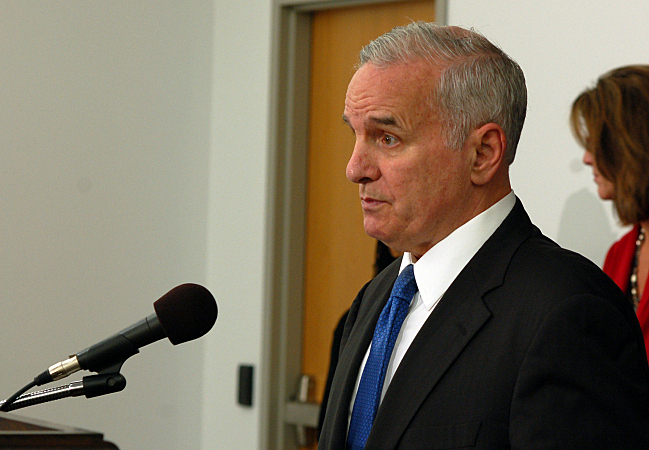 Governor Dayton announcing executive order; photo by Tom Scheck at M.P.R.